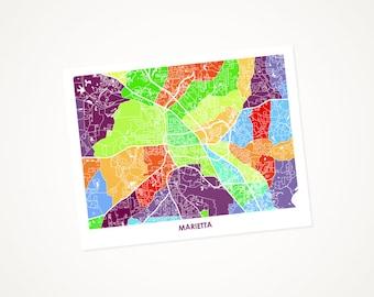 Marietta Map Print. Choose Your Colors and Size. Georgia City Wall Art Poster.  GA Decor.