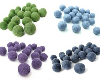 Felt Balls - 20 Pure Wool Beads 20mm - Moss Green, blue, purple or denim