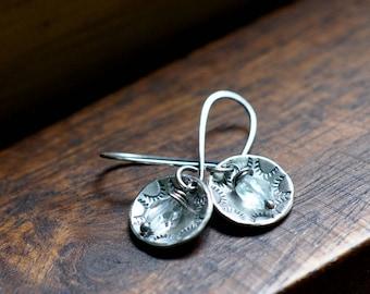 Sterling Silver Topaz Earrings, Sterling Silver Stud Earrings, Hand Stamped Dangly Earrings, Boho Earrings