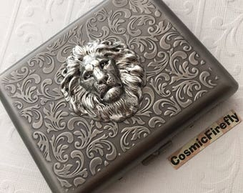 Large Size Lion Cigarette Case Extra Big Antiqued Silver Tone Metal Wallet Gothic Victorian Steampunk Silver Lion Case Lion Card Wallet