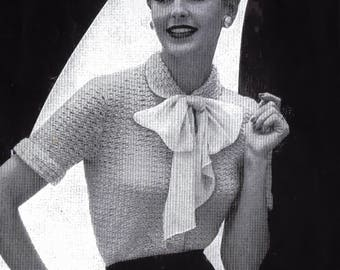 Vintage PDF Crochet Pattern Shirt Waist Blouse Bust Sizes 32 to 36 Inches Size 12 to 20 Instant Download Digital e-Pattern Download
