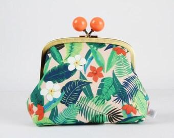 Metal frame clutch bag - Hawaiian flowers - Color bobble purse / Japanese fabric / Tropical garden / Aloha / Palm leaves green orange red