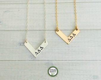 Delta Delta Delta Necklace - Delta Delta Delta Jewelry - Tri Delta - Sorority Chevron Necklace - Sorority Jewelry - Sorority Necklace