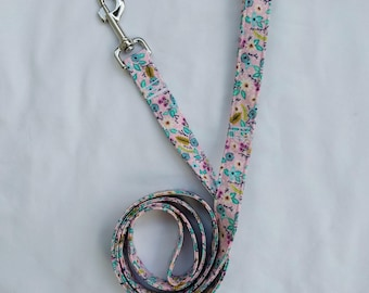 Turquoise Blooms on Pink Floral-Traffic Leash-Dog Leash-- 3, 4, 5, 6 Foot Leash- Pet Supplies- Accessory