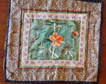 "Vintage to Antique Chinese Silk Hand Embroidered Tapestry - Flower, Insect - Wall Hanging or Table Decoration - 11.25"" x 10"" - Some Damage"