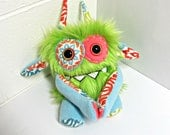 Stuffed Monster - Monster Plush - Handmade Plush Monster - Hand Embroidered OOAK Monster Toy - Lime Green Faux Fur - Cute Plush Monster