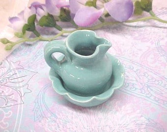 Miniature Pitcher Bowl Set Hand Turned Turquoise Fluted Bowl Anita Pottery