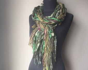 Boho Fringe Gypsy Scarf in Silk Wool Hemp Forest inspired Burning Man Autumn Woods All Natural Fiber Art Scarf