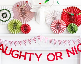 Naughty or Nice Banner - Christmas Banner Naughty or Nice - Naughty list - Nice List - Naughty or Nice Christmas Garland - Red Banner HYP403