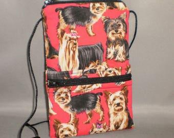 Yorkie - Smart Phone Purse - Passport Purse - Sling Bag - Hipster - Wallet on a String - Dog - Yorkshire Terrier