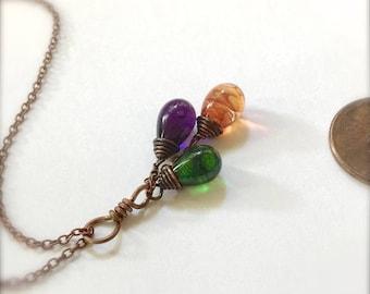 Glass Teardrop Cluster Necklace - Boho Royalty - By Bullseyebeads