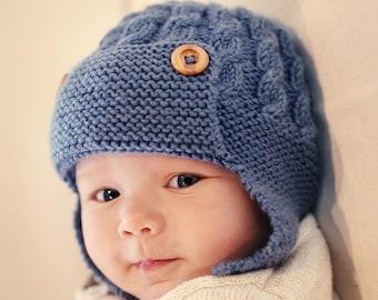 Aviator Hat Knitting Pattern, Aviator Hat Pattern, Baby Hat Pattern, Earflap Hat Pattern, Knit Hat Pattern  DAYTON Instant Download