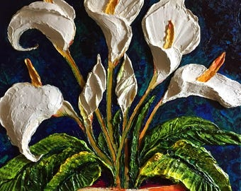 White Cala Lillies 22 by 28 inches Original Impasto Oil Painting by Paris Wyatt Llanso