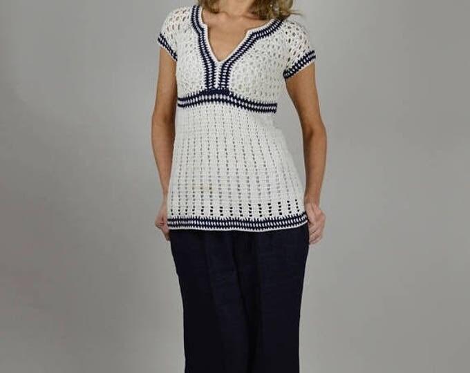 sale Navy Blue Pants, Linen Pants, Cropped Pants, Nautical Clothing, Resort Wear, Summer Pants, Sailor Pants,Wide Legged,  Ralph Lauren Pant