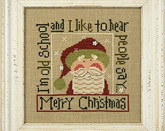 Lizzie Kate Snippet S127 S127E Old School - Santa 2016 Christmas Cross Stitch Pattern with Buttons