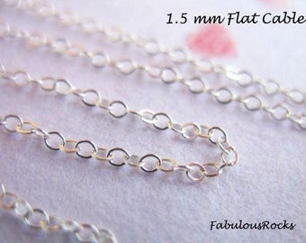 10 feet, Sterling Silver CHAIN Bulk, 1.5 mm Flat or Round Cable Chain Wholesale  .. 15-45% Off 925 SS Chain / s68 ss s88 hp