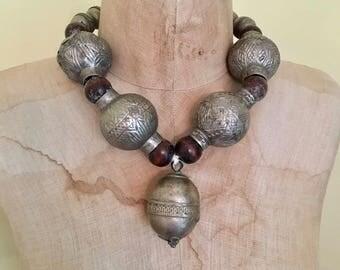 Kuchi Necklace, Boho Statement, Afghan Necklace, Vintage Necklace, Massive, Oversized, Big Huge, Gypsy, Bohemian, Large Beads, Ethnic Tribal