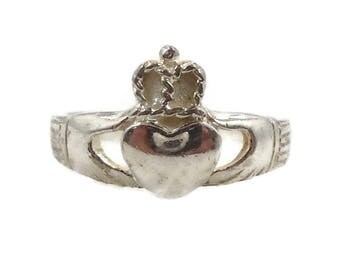 Claddagh Ring, Sterling Silver, Vintage Ring, Irish Jewelry, Celtic Ring, 925, Size 9, Irish Wedding, Heart, Crown, Hands
