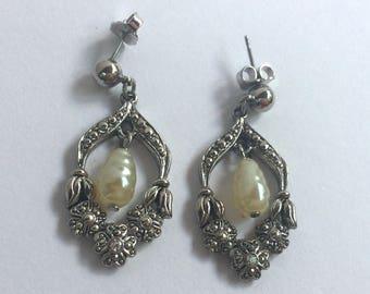 Vintage Pearl Stud Pierced Earrings