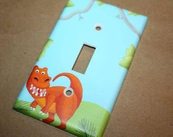 Bright T-rex Dinosaur Kids Bedroom Baby Nursery Single Light Switch Cover LS0013