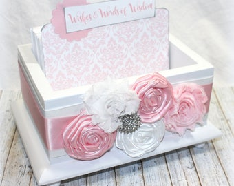 Guest Book Box / Advice Box / Pink and White Guest Book / Advice Cards / Baby Shower Guest Book / Bridal Shower Guest Box / White Box