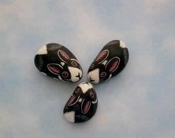 Dutch bunny rabbit-miniatures for fairy gardens-painted rocks-miniature animal-moss terrarium kits-faerie accessories-dollhouse miniature