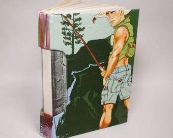 Hey-o! Rod and Reel Sexy Camping Dude Journal, Notebook, Sketchbook or Guestbook, Unique and Hand-bound