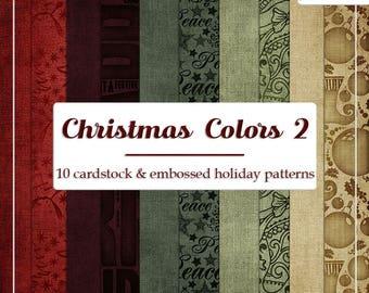 DECEMBER SALE - CU4CU Digital Papers | Christmas Colors 2 | Embossed Christmas Patterns Papers | Digital Designer Tool
