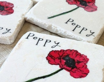 XMASINJULYSale Red Poppy Tile Coasters - Absorbent Tile Coasters - Housewarming Present