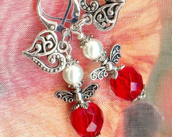 Earrings small love Angels Red Crystal ✿ ✿ Pearly OR776