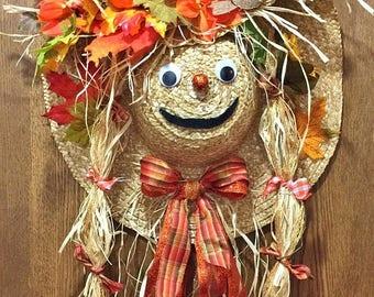 SALE- Scarecrow Hat Fall Halloween Door Wreath!
