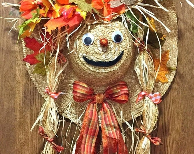SALE- Scarecrow Hat Fall Halloween Door Wreath!