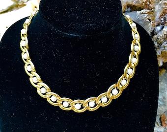 Vintage Chain Link Pearl Choker