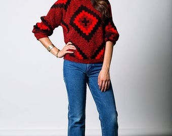 40% SUMMER SALE The Vintage Diamond Checkered Red Sweater