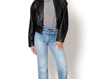 40% OFF The Vintage Black Crop Leather Jacket
