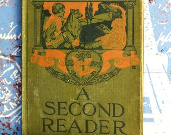 1907 A Second Reader by Spaulding and Bryce, vintage antique book,  Home Decor, collectible book, CoolVintage, Bag 3