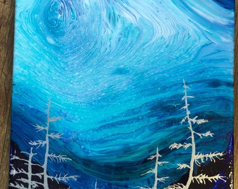 82 Fluid Silver Abstract Painting - 12x12 Silver Forest Night Sky Abstract with Resin