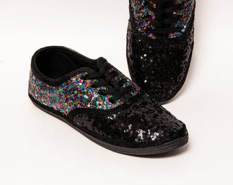 Sequin - 2 Tone - Rainbow CVO Multi Color Over Black Speckled Custom Canvas Sneakers Shoes