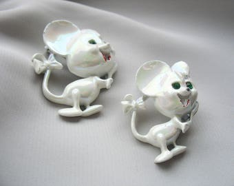 White Mice Brooches, iridescent, Emerald Green Rhinestone Eyes, Pair of Pins, Cute, Figural Jewelry, Enamel, Long Tails