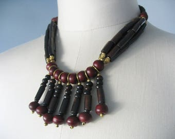 Beaded Fringe Necklace, Earrings, Tribal Style, Stone Beads, Burgundy, Dark Brown, Gold Accents, Jewelry Set