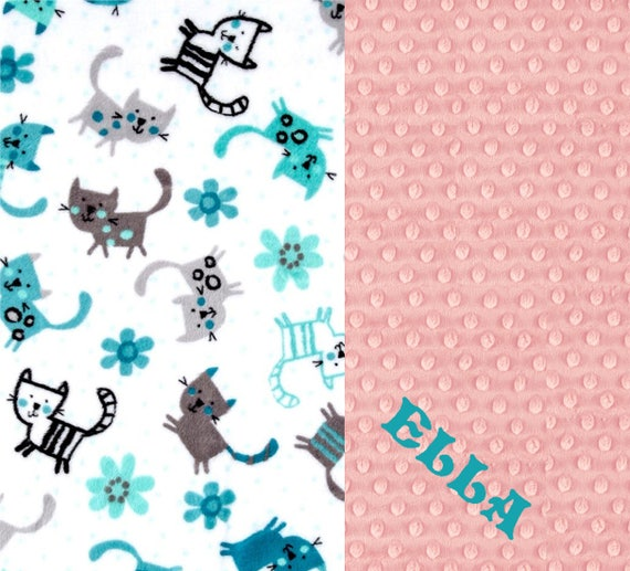 Name Baby Blanket, Baby Girl Minky Baby Blanket, Pink Gray Teal Cats Blanket, Personalized Baby Blanket, Stroller Blanket, Pink Baby Blanket