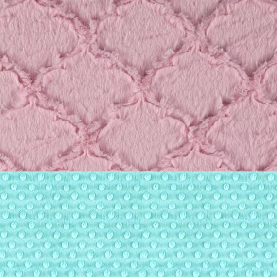 Personalized Baby Blanket Girl / Minky Baby Blanket, Pink Blue Lattice / Stroller Blanket / Girl Baby Blanket / Name Blanket / Pink Blanket