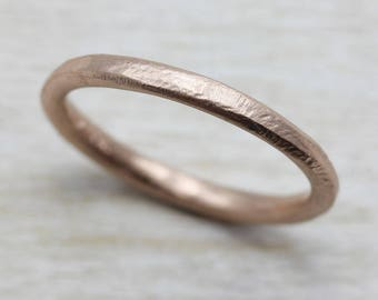 2mm hand hewn womens wedding band gold or palladium recycled eco - Eco Friendly Wedding Rings