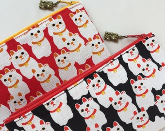 Maneki-neko Zipper Pouch / Pencil Case - Red / Black