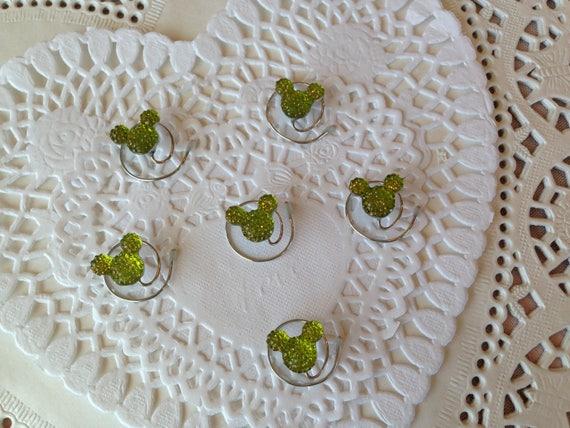 Disney Wedding-6 MOUSE EARS Hair Swirls--Cinderella Gift- Hair Coils-Lime Hidden Mickeys
