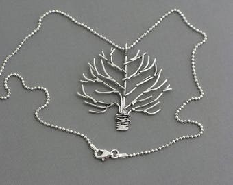Sterling silver tree necklace oak tree nature necklace botanical jewelry wire tree of life necklace artisan handmade gift for her .925