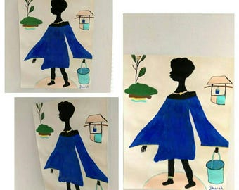 black woman art, black girl painting,  colorful dress blue dress afrikaans art,African American art,black woman painting, water,plant well