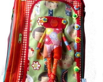 Big bag shoulder strap, bag original, unique bag, bag kokeshi