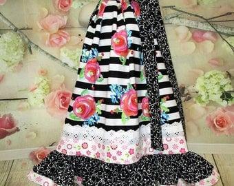 Girls Dress 5/6 Black White Pink Floral Stripe Pillowcase Dress, Pillow Case Dress, Sundress, Boutique Dress