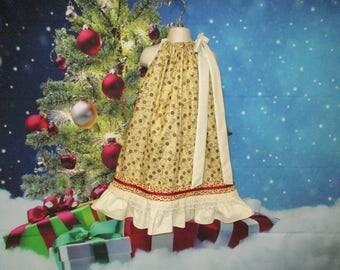 Girls Dress Christmas Dress 6/7 Cream, Gold Flower, Gold Reindeer, Pillowcase Dress, Pillow Case Dress, Sundress, Boutique Dress